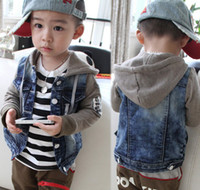 Jackets Boy Spring / Autumn New Fashion Spring Boys Denim Outwear Splicing Match Cotton Pattern Long Sleeve Jacket Kids Clothes CowBoy Hat Coat Boy's Cardigan C1093
