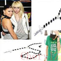 Wholesale Fashion Design Mens Womens Cross Pendant Black Rosary Beads Long Chain Necklace