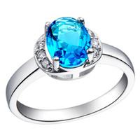 Bijoux Luxe Aquamarine saphir dame de 18 k blanc or rempli Ring pour cadeau Size8