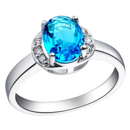 Wholesale Jewellery Luxury Aquamarine sapphire lady s k white Gold Filled Ring for gift Size8