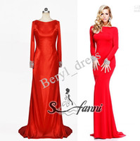 Real Photos High Neck Elastic Satin New Style 2014 Zuhair Murad Hot Red Long Sleevs Evening Wedding Dresses Gown Luxury Satin High Neck Formal Prom Dresses Real Model
