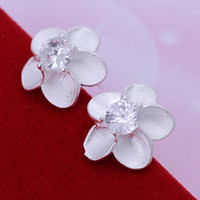 Wholesale 925 Silver Rose Flower Stud Earring Austrain Crystal Charm Jewelry