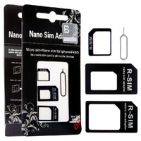 Wholesale 4 in Nano sim adapter restored Micro sim card for iphone iphone5 S
