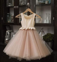 Wholesale 2014 Cheap Princess Tulle Flower Girls Dresses Jewel Champagne Floor Length Baby Formal Occasion Skirt First Communion Bridal Gowns Cute