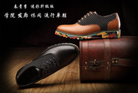 Wholesale 2014 New Men s Europea Style Stylish Brief Flat Shoes Camo cowhide high quality Casual Shoes