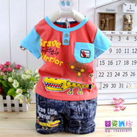 Wholesale crocodile Infants Baby Clothes sets T Shirt Pants Cotton Material Elephant Cartoon Children Clothings suit Color set