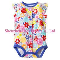 Girl Summer Cotton Blends Wholesale - Flower Baby rompers pajamas underwear jumper toddler rompers bodysuits sleepwear onesies jumpsuit