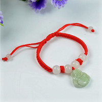 Wholesale Pure hand woven red string natal natural jade bracelet Burma jade Buddha bracelet hanging