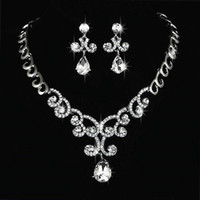 Wholesale Large Clear Crystal Pendant Necklace Earrings Set Wedding Jewelry Silver High Quality Bride Jewelry Set