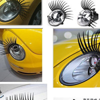 Wholesale Creative Plastic Car D Headlight Eyelashes Flexional Personalized Auto Decorating Lashes Sticker Pair
