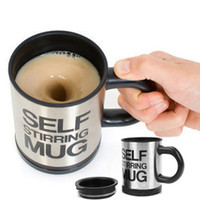 Wholesale Free shippping Automatic coffee mixing cup mug bluw stainless steel self stirring electic coffee mug ml