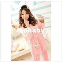Wholesale Please Leave color and size for us Maternity Long Sleeve Pajamas Nursing Breastfeeding Cotton Nightgown Pregnant Women Sleepwear Sets Mot