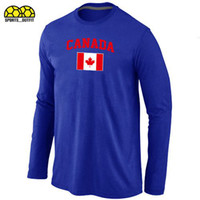 Ice Hockey Men Full New Arrival 2014 Olympics Canada Flag Pattern Long Sleeve T-Shirts Blue Mens Hockey Jerseys Cheap Sportswear Many Colors Allow Mix Order