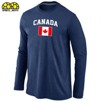 Ice Hockey Men Full Long Sleeve Hockey T-Shirts Darks Blue Hockey Wears 2014 Olympics Flag Mens T-Shirts New Style Hockey Jersey Selling From Factory Directly