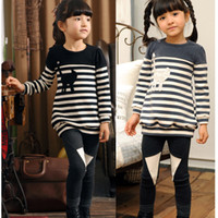 Girl new clothes styles - Children Suit Spring Autumn new style pure cotton stripe t shirt pants Kids Clothing Set Girls Outfits sets TX47