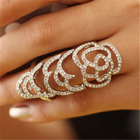 Wholesale Gorgeous Ring Celtic Knot Shape Bezel Setting Rhinestone Double Ring Fashion Women Cocktail Ring Jewelry
