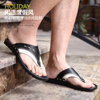 Wholesale 2014 fashion mens colour matching flip flops slipper men casual shoes Sandals beach shoes mens beach sandals designer leather slippers EDANU