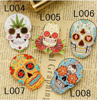 Men's badge jewelry - 2014 latest design DEAD SKULL ACRYLIC BROOCH SKELETON BADGE COOL PIN SUGAR SKULL JEWELRY