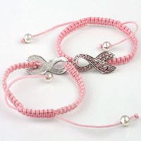 Charm Bracelets Women's  100pcs lot Crystal Rhinestone Pink Ribbon Weave Adjustable Bracelet Breast Cancer Awareness Connector Bracelet Macrame Bracelets