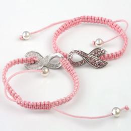 Ruban rose sein à vendre-100pcs / lot Crystal Rhinestone Pink Ribbon Weave Bracelet Réglable Breast Cancer Connector Bracelet Bracelets Macrame