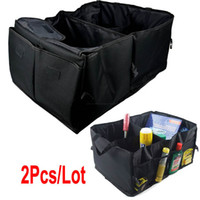 Wholesale 2pcs Black Folding Collapsible Car Boot Organiser Storage Bag Auto Storage Box Organizer