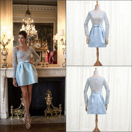 2014 New Arrival Formal dresses Light sky blue Short Cocktail dresses with lace long sleeves Best quality Party Dresses