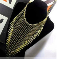 Chokers antique brass color - Fashion Individual New Style Gold and Antique Brass Color Alloy Exaggerated Spike Rivet Tassel Necklaces Punk Necklace for Women Hot sale