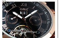 Wholesale hot Brand New Men s Watches Jaragar Fully automatic Mechanical Clock Tourbillon Double Calendar Hours Male Christmas