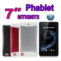 Wholesale New arrival inch HD Screen G Phone Call Tablet PC MTK6572 Dual Core GHz android MID bluetooth Wifi Dual Camera phablet DHL