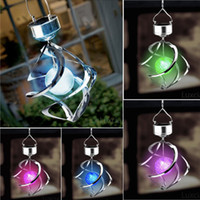 Wholesale Solar Powered Color Changing Wind Spinner LED Lights Garden Yard Decorate Lamp