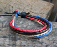 Fashion Style genuine jewelry - New Hemp Surfer Tribal Multilayer Genuine Leather Bracelet with Braided Rope Men And Women Fashion Jewelry