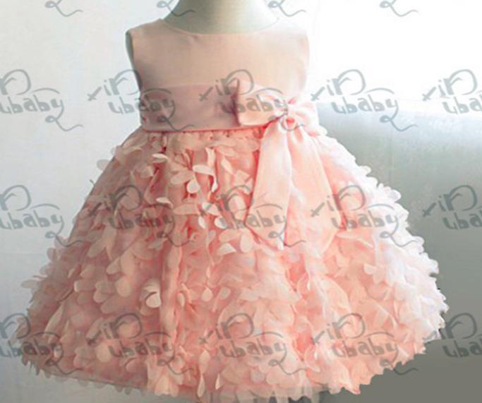 Girl fancy dress flower bow wedding dresses baby girl princess dresses