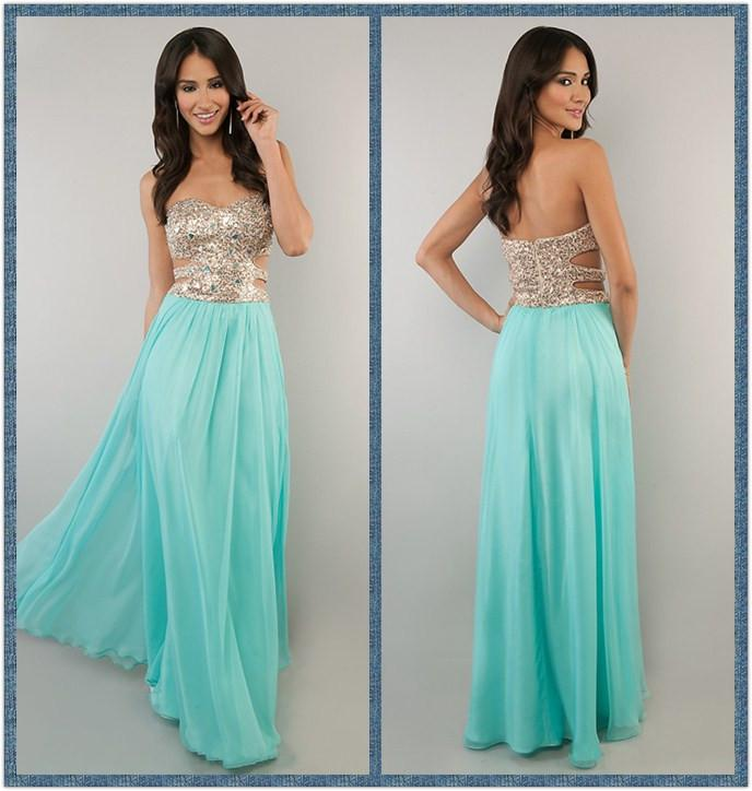 CUSTOM 2014 GOLD AND MINT PROM DRESS STRAPLESS PROM DRESSES | BUY ...