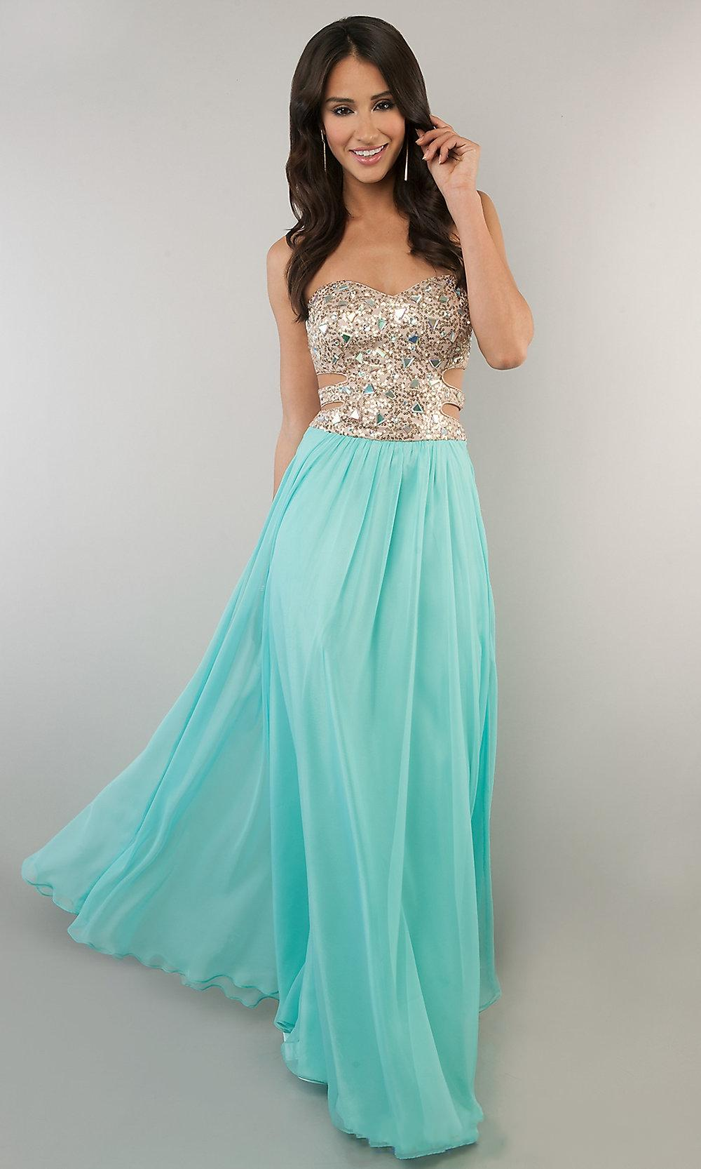CUSTOM 2014 GOLD AND MINT PROM DRESS STRAPLESS CRYSTAL SEQUINED ...