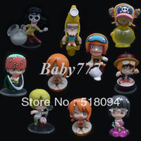 Multicolor PVC Key Japanese Anime One Piece sanji Luffy Nami 10 Mini Cute Fruit Version Style PVC Doll Figure Set For Christmas Gifts Free Shipping