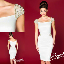 Wholesale Hot Sale Fashion Designer Mac Duggal Crystal Beaded Cap Sleeve Beaded Waist Part Sheath Mother Dress Cocktail Dress Party Gowns ZA100