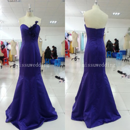 Wholesale In stock Purple Long Sweetheart Mermaid Brush Satin Appliques flowers fashion bridesmaid dresses Party gowns Long prom gowns US size