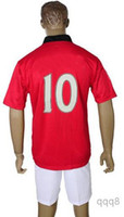 Wholesale Top Quality Home Red Manchester Soccer Uniform Jerseys and Short Embroidery Logo Rooney