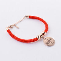 Wholesale 2014 red rope rose gold plated Chinese copper coin charm bracelet amp bangle with adjustable chain clasp pendant horse year bracelet