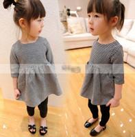 Wholesale Spring Korean Style New Arriver Girls Dress Plaid Middle Sleeve Grid Doll Children s Dresses Kids Baby Clothing For Girl C1103
