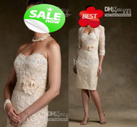 2014 Sexy Champagne Mother Of Bride Dresses With free lace B...