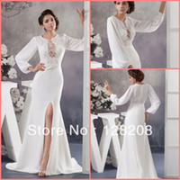 Sheath/Column Reference Images Zipper Wholesale White Grecian Side Slit Wedding Dress with Long Sleeve