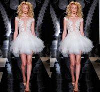 Wholesale 2014 Sexy Short Wedding Dresses Ball Gown See Through Applique Tulle Mini Garden Beach Wedding Bride Sheer Bridal Gowns Fashion High Quality