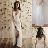 Empire Reference Images Spaghetti New 2014 Sexy Backless Boho Wedding Dresses Empire Spaghetti Floor Length Lace Sheer Bridal Gowns Romantic Beach Wedding Bride Custom Cheap
