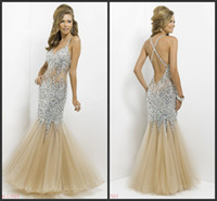 Wholesale Blush mermaid champagne evening dresses beaded celebrity red carpet plunging v neck sheer floor length pageant formal gowns Alexia