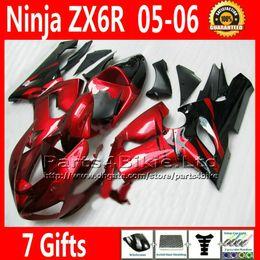 Customize Fairings kit +7 Gifts for Kawasaki Ninja ZX6R 636 ZX 6R 2005 2006 ZX636 high quality red black fairing kits ZX-6R 05 06 VR1