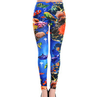 Polyester Mid Fashion Woman Lady Elastic Waist Sea World Fish Coral Multi Pattern Print Ankle Length Footless Pantyhose Skinny Leggings Pants One size FFL247
