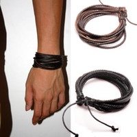 Wholesale Mens Bracelets Wrap Multilayer Genuine Leather Bracelet with Braided Rope Fashion Jewelry