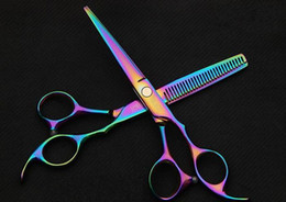 Wholesale Barber Hair scissors hair cutting scissors purple titanium inch hairdresser shear hair salon tools