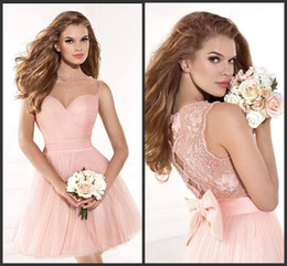 Robe de conception de cristal courte à vendre-2014 conception nouvelle collection de printemps de tulle rose courtes robes de bal, A-ligne de robe de bal sweetheart à volants perles de dentelle de cristal bouton de la livraison gratuite